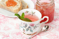 Watermelon Jam, Herbal Tea, Marshmallows. White Wooden Table. Stock Photography