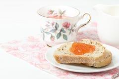 Watermelon Jam, Herbal Tea, Marshmallows. White Wooden Table. Royalty Free Stock Photo
