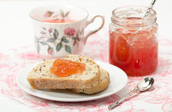 Watermelon Jam, Herbal Tea, Marshmallows. White Wooden Table. Royalty Free Stock Image