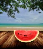 Watermelon from japan on beach Royalty Free Stock Photography