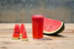 Watermelon juice. Fruit fresh on wood background Stock Photo