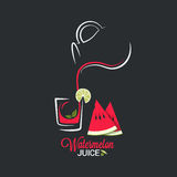 Watermelon juice. Glass and jug of summer smoothie vector illustration