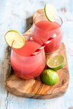 Watermelon juice in the glasses. On wooden board,selective focus Stock Photography