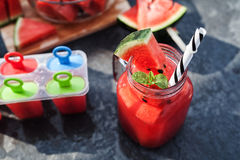 Watermelon juice and handmade icecream with lime Stock Image