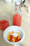 Watermelon juice and healthy food on table for breakfast Stock Photos