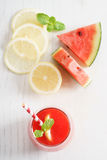 Watermelon juice with lemon and mint Royalty Free Stock Images
