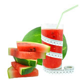 Watermelon juice and meter Royalty Free Stock Photography