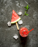 Watermelon juice with mint and ice. Stock Photos