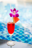 Watermelon juice by the pool Royalty Free Stock Images