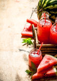 Watermelon juice with pulp. Royalty Free Stock Images