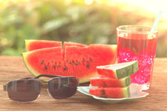 Watermelon Juice and Slices Stock Images