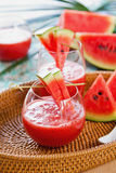 Watermelon juice. With some pieces of watermelon Royalty Free Stock Photography
