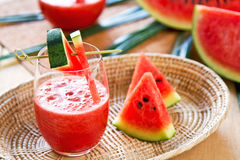 Watermelon juice. With some pieces of watermelon Stock Photo