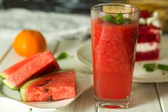 Watermelon juice spun on the table royalty free stock photo