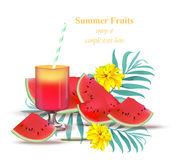 Watermelon juice tasty sweet summer background. Refreshing juicy Vector template Royalty Free Stock Photography