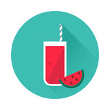 Watermelon juice vector icon. Menu element for cafe or restaurant with energetic fresh drink. Trendy flat design style. For web and print design Stock Images