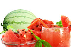 Watermelon juice watermelon and cut Watermelon Stock Photo
