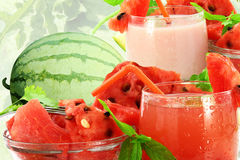 Watermelon juice watermelon milkshake and  Watermelon Royalty Free Stock Images