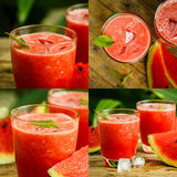 Watermelon juice on a wooden table. Collage Stock Image