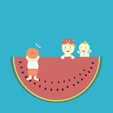 Watermelon and kids Royalty Free Stock Photos