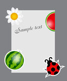 Watermelon, ladybug, daisy on blank page  Stock Photos