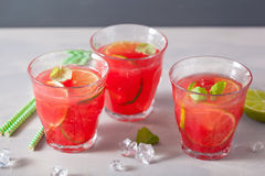 Watermelon lemonade with lime and mint, summer refreshing drink Royalty Free Stock Images