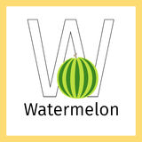Watermelon and letter W coloring page Stock Image