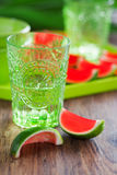 Watermelon lime jello shots Stock Photos