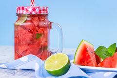 Watermelon and lime lemonade Stock Photo