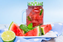 Watermelon and lime lemonade Royalty Free Stock Photography
