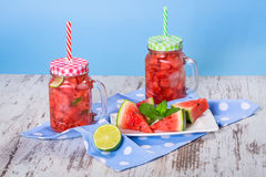 Watermelon and lime lemonades Royalty Free Stock Images