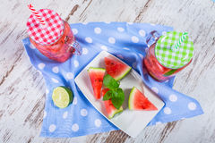 Watermelon and lime lemonades Royalty Free Stock Photo