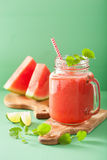 Watermelon lime smoothie in mason jars Royalty Free Stock Photos