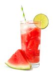 Watermelon lime water isolated on white with melon slice Royalty Free Stock Photos