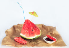 Watermelon with lingonberry jam Stock Photos