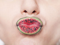 Watermelon lips Royalty Free Stock Photography