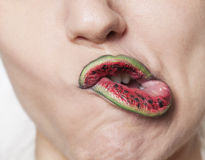 Watermelon lips grimacing Royalty Free Stock Photos