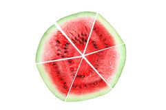 Watermelon lobules are lined in the form of a circle. stock photos