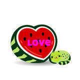 Watermelon love heart and cat sleeps, cartoon on a white. Watermelon love heart and cat sleeps, cartoon on a white background.vector Royalty Free Stock Images