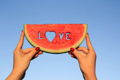 Watermelon love Stock Image