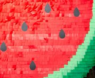 Watermelon made of office stationery paper stickers Royalty Free Stock Images