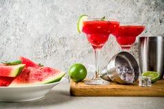 Watermelon margarita cocktail Stock Images