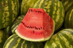Watermelon at market. Sample watermelon at market display Royalty Free Stock Photo
