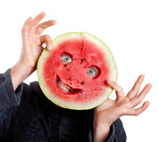 Watermelon mask and human eyes for helloween. Isolated on white Royalty Free Stock Photos
