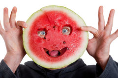 Watermelon mask and human eyes for helloween Stock Photos