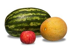 Watermelon, melon and apple. On white background Stock Image