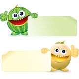 Watermelon and Melon. Cartoon Illustration Royalty Free Stock Image