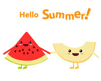 Watermelon and melon character Stock Images