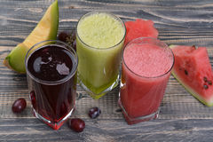 Watermelon, melon and grape juice Royalty Free Stock Photography