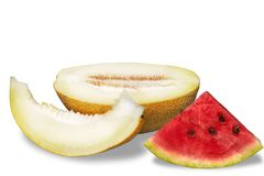 Watermelon and melon. On white background Royalty Free Stock Photo